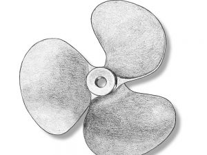 Metal 3 Blade Propellers for Static Models left 60mm