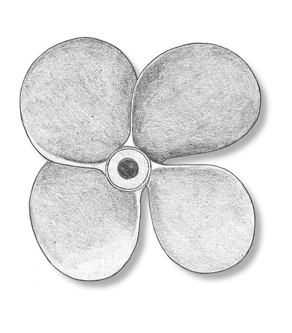 Metal 4 blade propellers for static models left 60mm