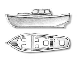 Plastic Wood Boat with Cabin 80mm